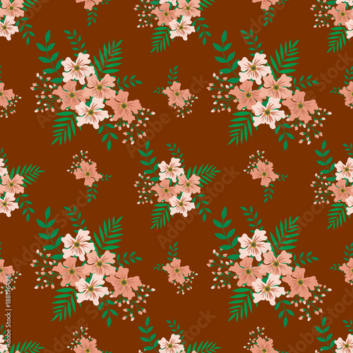 Fashionable pattern in small flowers. Floral seamless background for textiles, fabrics, covers, wallpapers, print, gift wrapping and scrapbooking. Raster copy. - 188196498