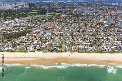 Sunny aerial view of Mermaid Beach on the Gold Coast, Queensland - 188196833
