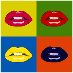 Woman lips pop art background