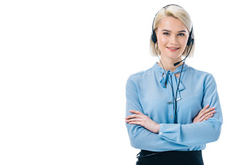 attractive operator with crossed arms working in headset, isolated on white