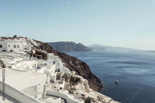 Foto op Canvas Lichtblauw paisaje santorini