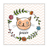 Cute cat portrait in a floral frame