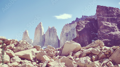 Foto op Canvas Aubergine Torres del Paine mountains, color toned picture, Patagonia, Chile.