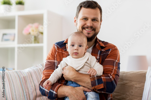 happy father with little baby boy at home - 188221240