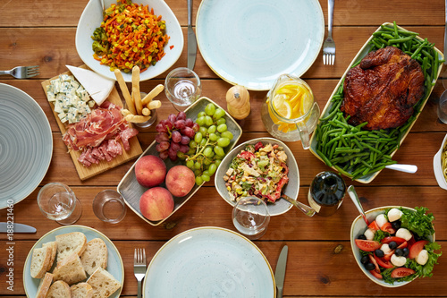 various food on served wooden table - 188221460