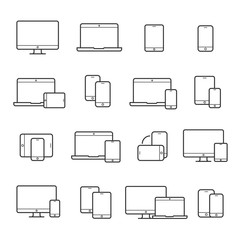 Device line icon set © Vikivector