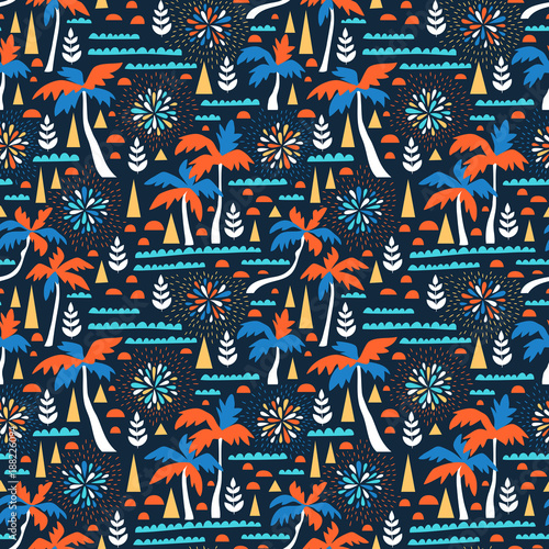 Cotton fabric Seamless beach vector pattern with fireworks, palms and waves. Vector hawaiian background. Summer fabric design.