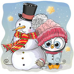 Snowman and Cute Penguin girl in a hat