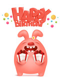 Greeting card for birthday with pink bunny cartoon character holding gift boxes