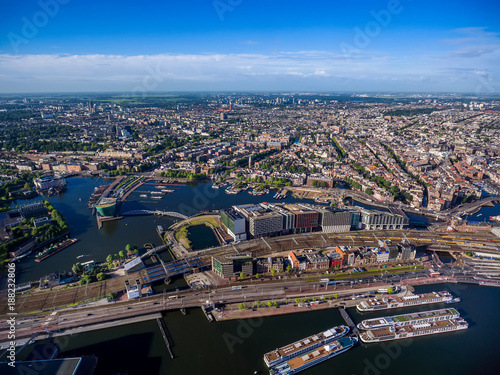 Foto op Canvas Amsterdam City aerial view over Amsterdam