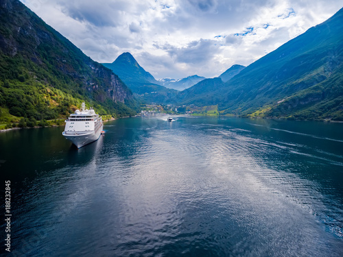 Geiranger fjord, Norway aerial photography. - 188232845