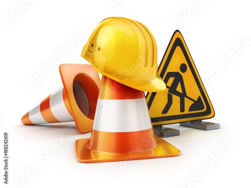 Repair road sign and orange cones