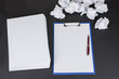 Clean notepad and  pen with ball paper office concept. Place for text. Copy space