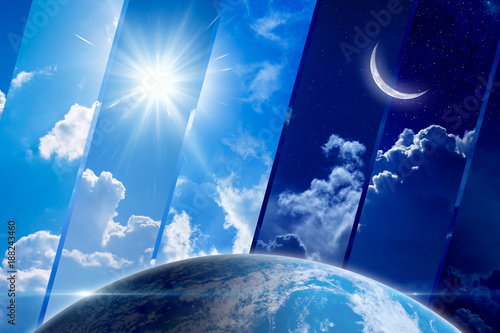 Foto Murales Global weather forecast background, day and night, sun and moon