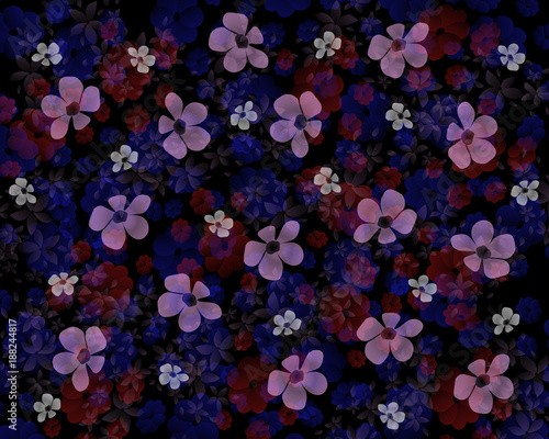 Abstract dark floral wallpaper. Transparent flowers on a black background. - 188244817