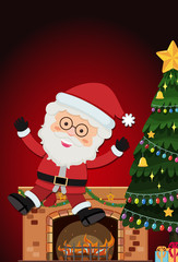 Santa with fireplace and christmas tree