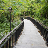 A hiking trail with a lantern lighting through a tropical park - Linchunling Forest Park