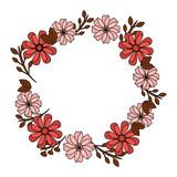 wreath floral petals ornament decoration romantic vector illustration