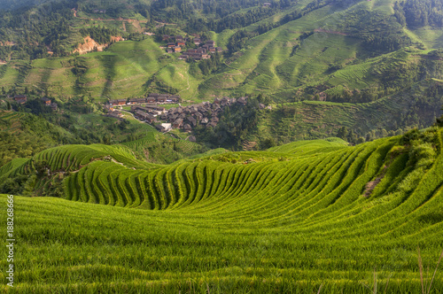In de dag Rijstvelden Beautiful view of the Dazhai village and the surrounding Longsheng Rice Terraces in the province of Guangxi in China; Concept for travel in China