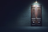 Mixed media illustration of dark evening street. Old fashioned wooden door in front of white brick wall below the light of hanging metal lamp. - 188268800