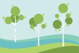 Tree birch in springtime, summer. Vector stylized.