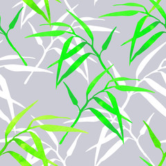 floral seamless pattern with bamboo branches on color background