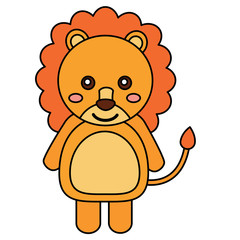 lion cute animal icon image vector illustration design