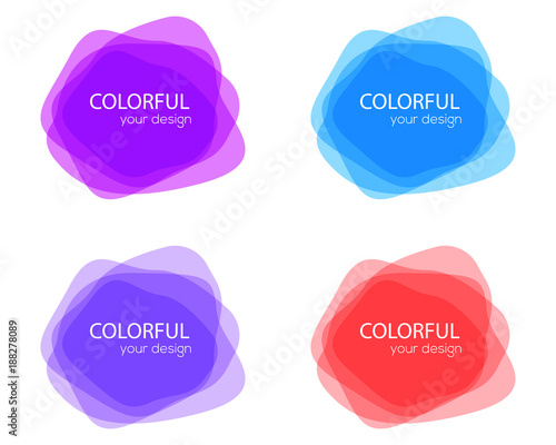 Set of round colorful vector shapes. Abstract vector banners. Design elements. Fun label or tag design - 188278089