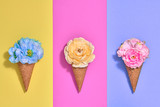 Ice Cream Cone Set with Flowers. Trendy fashion Style. Spring Summer Floral concept. Creative Minimal. Colorful Neon Design. Pop Art