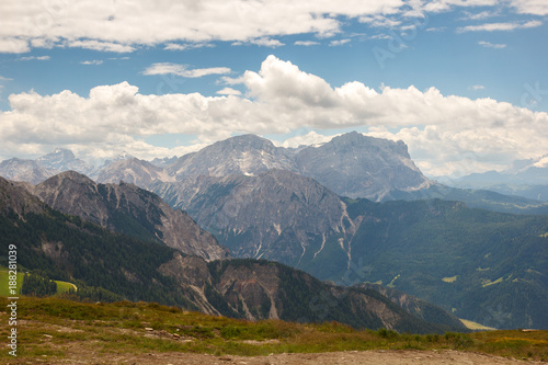 View of the Italian south-Tirol Alpine Mountains from the Kronplatz
