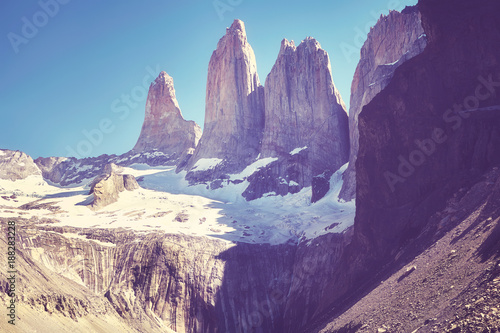 Fotobehang Aubergine Vintage toned picture of the Torres del Paine mountain range, Patagonia, Chile.