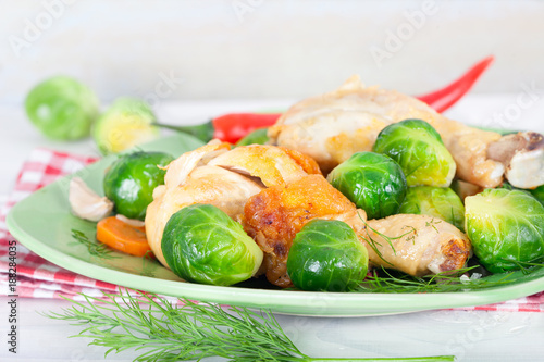 Fotobehang Brussel Brussel sprouts with carrot, onion, garlic and dill. Healthy homemade food..