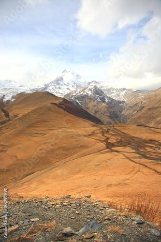 Aluminium Blauwe hemel Mount Kazbek is one of the major mountains of the Caucasus located on Kazbegi District in Georgia