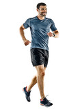 one caucasian man runner jogger running jogging isolated on white background with shadows - 188296805
