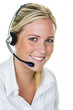 woman with headset in customer service - 188297679
