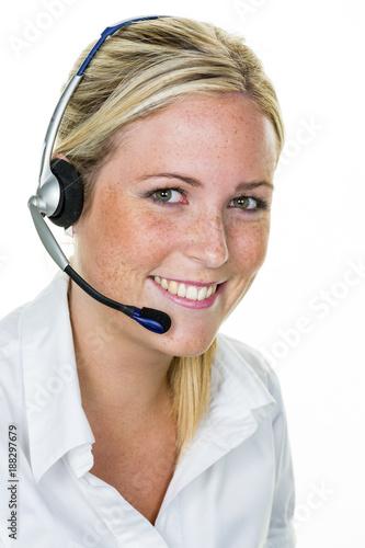 Leinwandbild Motiv woman with headset in customer service