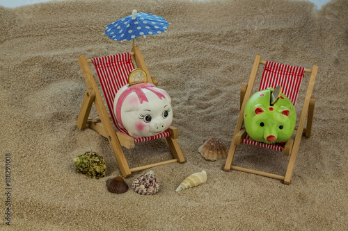 deck chair with piggy bank and euro - 188298008