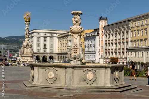 austria, linz, main square, trinity column