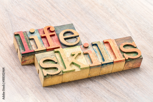 Papiers peints Positive Typography life skills typography in wood type