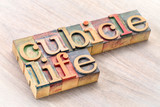 cubicle life typography in wood type - 188302801