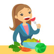 Happy caucasian white woman eating a healthy vegetable salad. Young woman enjoying a fresh vegetable salad. Concept of healthy nutrition. Vector cartoon illustration isolated on white background.