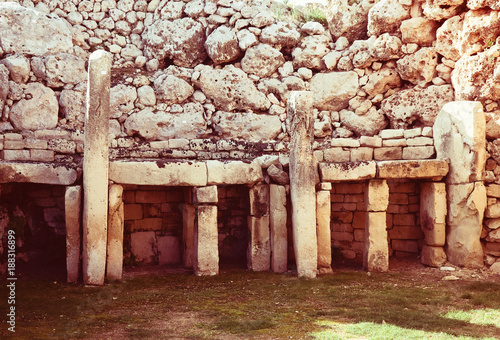 Staande foto Rood paars Ggantija neolithic temples (3600 B.C.)
