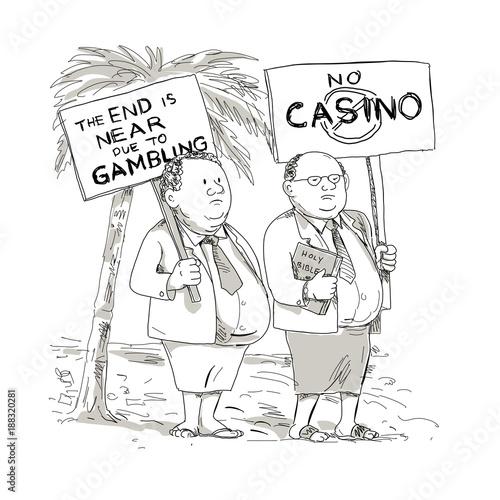 Fat Samoan Preacher Protesting Cartoon - 188320281