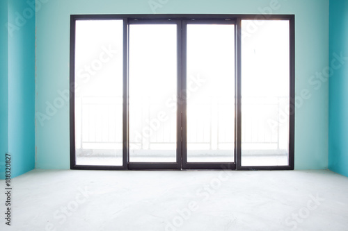 Industry Under Construction Building Home Empty Room Interior Window And  Door Black Aluminum On Wall