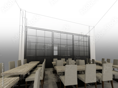 sketch design of resturant ,3d wire frame render