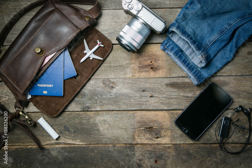 Foto Murales Traveling concept - essencials, camera, phone, plane