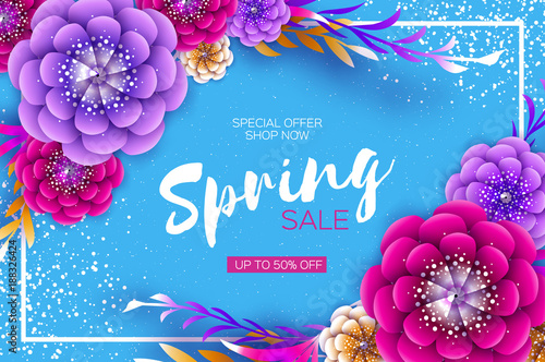 Bright origami spring sale flowers banner paper cut exotic tropical bright origami spring sale flowers banner paper cut exotic tropical floral greetings card spring mightylinksfo