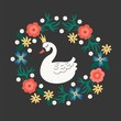 Vector illustration of beautiful Princess-Swan is surrounded by a floral wreath. - 188328208