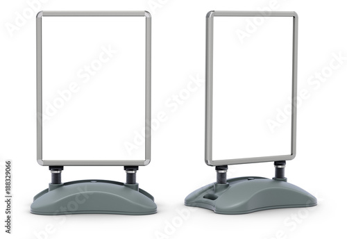 Blank water base pavement street sign frame board on white background
