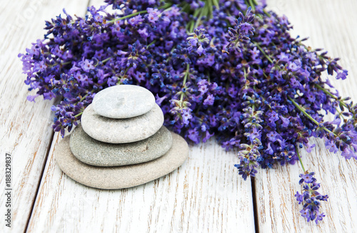 Lavender and massage stones - 188329837